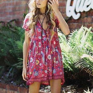 Dresses & Skirts - Melon Grunge Babydoll Floral V Button Dress, S-L